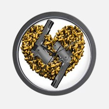 M1911A1_heart_bullets Wall Clock