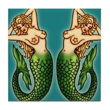 retro-tattoo-mermaid_ff Tile Coaster