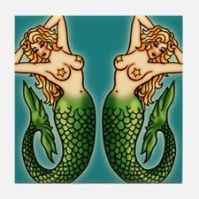 retro-tattoo-mermaid_ff Tile Coaster