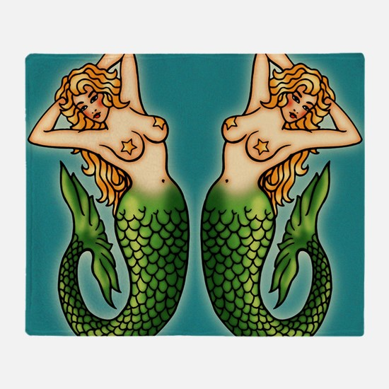 retro-tattoo-mermaid_ff Throw Blanket