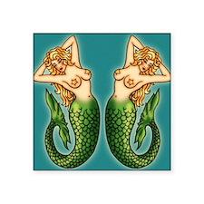 "retro-tattoo-mermaid_ff Square Sticker 3"" x 3"""