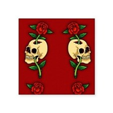 "retro-tattoo-skull-rose-red Square Sticker 3"" x 3"""