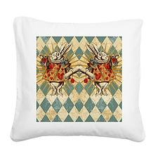 White Rabbit Vintage Square Canvas Pillow