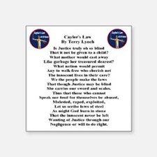 "caylees_law_poem_terrylynch Square Sticker 3"" x 3"""