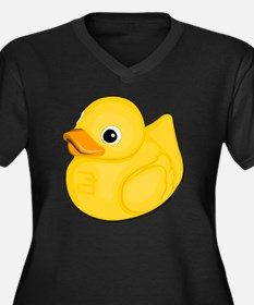 rubberduck-l Women's Plus Size Dark V-Neck T-Shirt