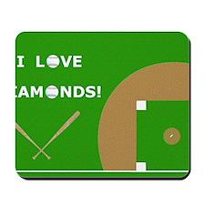 Baseball Laptop Skin, I Love Diamonds Mousepad