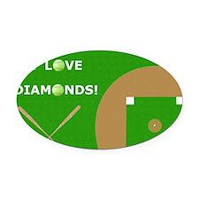 Softball Laptop Skin, I Love Diamo Oval Car Magnet
