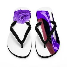 Lilac stiletto shoe and rose art Flip Flops