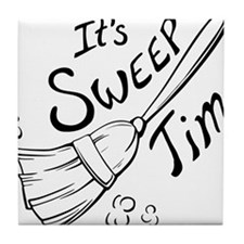 Sweep Time Black Tile Coaster