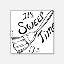 "Sweep Time Black Square Sticker 3"" x 3"""