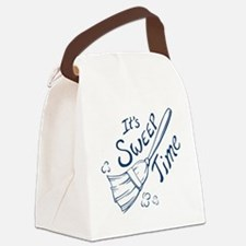Sweep Time Blue Canvas Lunch Bag