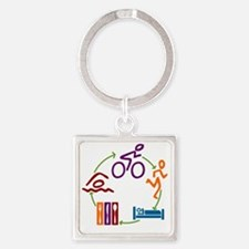Tri_Cycle Square Keychain