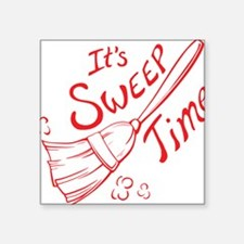"""Sweep Time Red Square Sticker 3"""" x 3"""""""