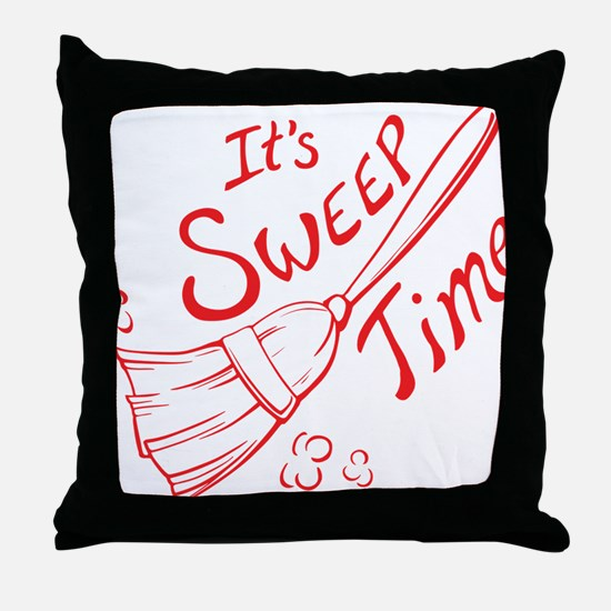 Sweep Time Red Throw Pillow
