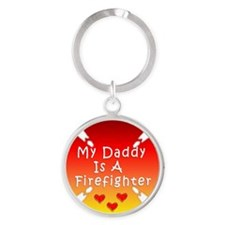 Firefighter Dad Round Keychain