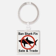 no_shark_fin Square Keychain
