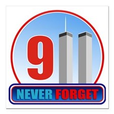 "911 WTC Never Forget Square Car Magnet 3"" x 3"""