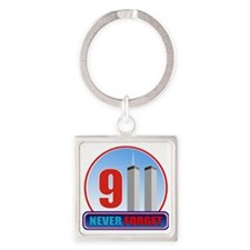 911 WTC Never Forget Square Keychain