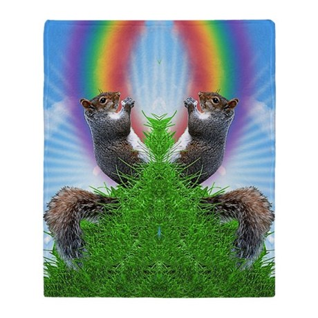 squirrel-with-rainbow_ff Throw Blanket