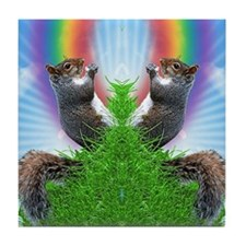 squirrel-with-rainbow_ff Tile Coaster