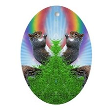squirrel-with-rainbow_ff Oval Ornament