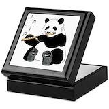 Panda flute Square Keepsake Boxes