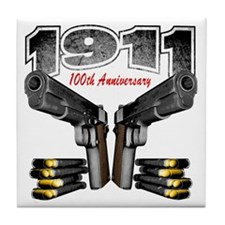1911_100th_blk Tile Coaster