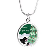 Newfies decorating the tree  Silver Round Necklace