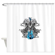 Praying Angel Skeleton Guitar White Shower Curtain
