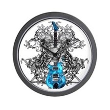 Praying Angel Skeleton Guitar White Flo Wall Clock