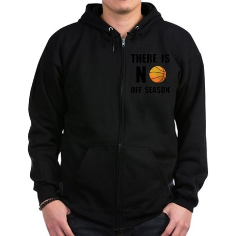 No Off Season Basketball Black Zip Hoodie (dark)