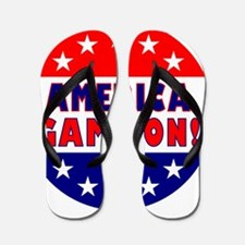 Round11x11AmericaGameOn Flip Flops