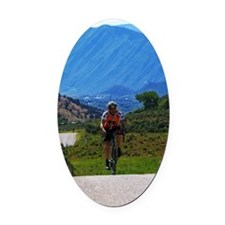 Cycling_Mountain_iPad Oval Car Magnet