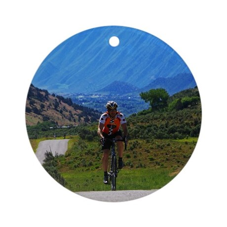 Cycling_Mountain_iPad Round Ornament