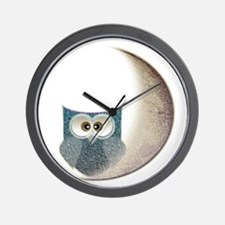 Owl On The Moon Wall Clock
