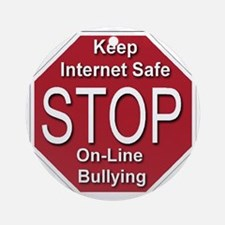 stop_on-line_bullying_transparent Round Ornament