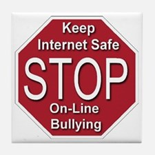 stop_on-line_bullying_transparent Tile Coaster