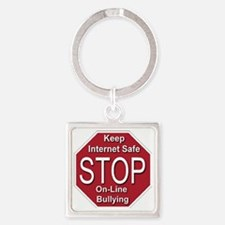 stop_on-line_bullying_transparent Square Keychain