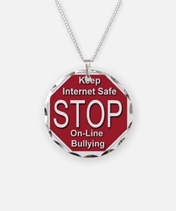 stop_on-line_bullying_transp Necklace Circle Charm