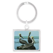 Theree Brown Pelicans Landscape Keychain