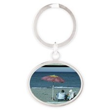 Out at the Beach Oval Keychain