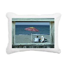 Out at the Beach Rectangular Canvas Pillow