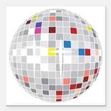 """discoball1 Square Car Magnet 3"""" x 3"""""""