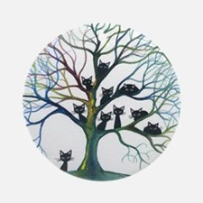 tree stray cats culpeper bigger Round Ornament