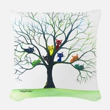 tree stray cats eau claire big Woven Throw Pillow