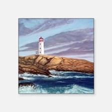 """Peggys Cove Lighthouse cloc Square Sticker 3"""" x 3"""""""