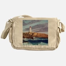 Peggys Cove Lighthouse clock Messenger Bag