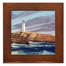 Peggys Cove Lighthouse clock Framed Tile