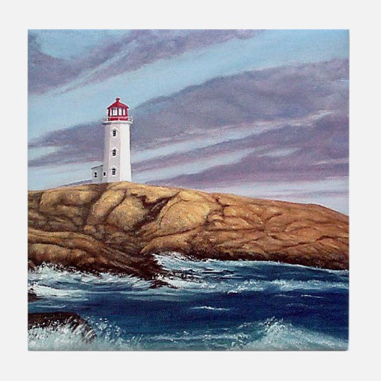 Peggys Cove Lighthouse clock Tile Coaster