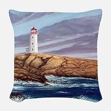 Peggys Cove Lighthouse clock Woven Throw Pillow